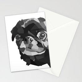 Pug Geometric art Black pugs Dog portrait Pet Stationery Cards