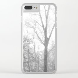 Black and White Forest Illustration Clear iPhone Case