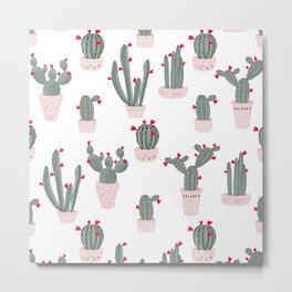 Love in the Desert Cacti Pattern Metal Print