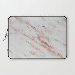 Marble - Rose Gold Marble with White Gold Foil Pattern Laptop Sleeve