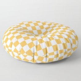 Small Checkered - White and Pastel Orange Floor Pillow