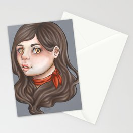 Girl with the red ribbon Stationery Cards