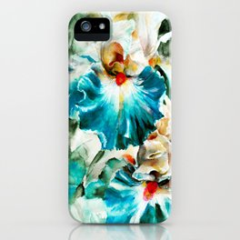 Beautiful watercolor flowers,background of flower petals in rich blue and green tones. H watercolor iPhone Case