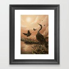 Crane and moth  Framed Art Print