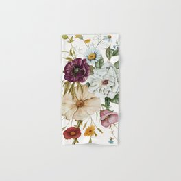 Colorful Wildflower Bouquet on White Hand & Bath Towel