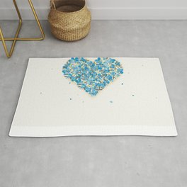 forget-me-nots heart Rug