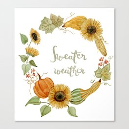 'Sweater weather' autumn flower wreath Canvas Print