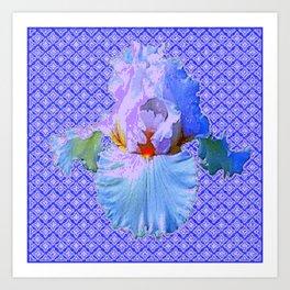 BLUISH-WHITE PASTEL IRIS FLOWERS OPTICAL ART PATTERNS Art Print