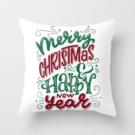 Merry Christmas and Happy New Year Typography Throw Pillow
