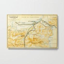 Vintage Map of Corinth Greece (1894) Metal Print