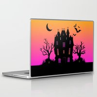 haunted mansion Laptop & iPad Skins featuring Haunted Silhouette Rainbow Mansion by rainbowdreams