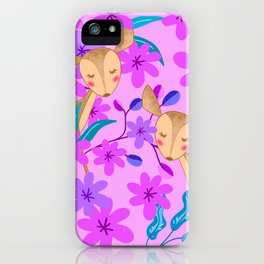 Cute wild sweet little baby deer fawns lost in the forest of delicate pink flowers illustration. iPhone Case