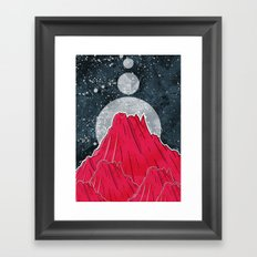 The Three Moons Over The Mountains Framed Art Print