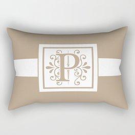 Monogram Letter P on Beige Background Rectangular Pillow