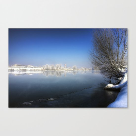 Snow over the River Canvas Print