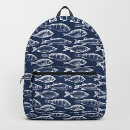 Fish // Navy Blue Backpack