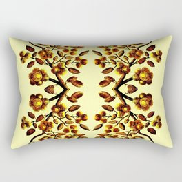 Yellow Brown Flower Leaf Pattern Vector Rectangular Pillow