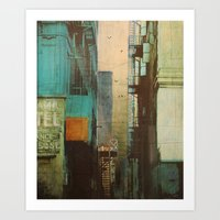 orange Art Prints featuring ESCAPE ROUTE by Liz Brizzi