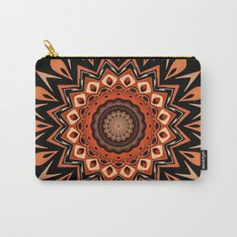 Boho Chic Rustic Orange Mandala Carry-All Pouch