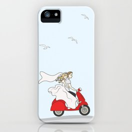 Wedding illustration - bride and groom on a red scooter iPhone Case