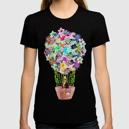 Teal Pink Vintage whimsical cat floral Air balloon T-shirt