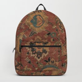 Flowery Boho Rug IV // 17th Century Distressed Colorful Red Navy Blue Burlap Tan Ornate Accent Patte Backpack