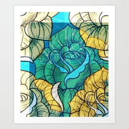 Digitally edited Painting 'Rose Tattoo' 2 Art Print