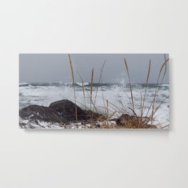Winter surf Beachgrass Metal Print