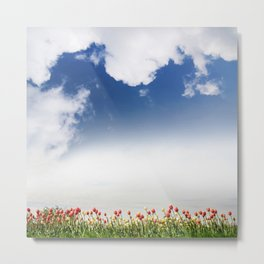 Red and yellow tulips and cloudscape Metal Print
