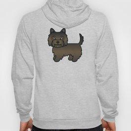 Cute Dark Brindle Cairn Terrier Dog Cartoon Illustration Hoody