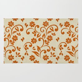 """Orange Flowers & Natural Texture"" Rug"