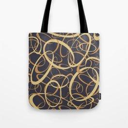funky retro loops orange cream navy Tote Bag