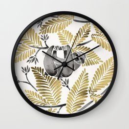 Happy Sloth – Tropical Gold Leaves Wall Clock