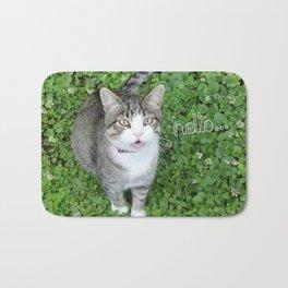 Cat in Clover Saying Hello Bath Mat