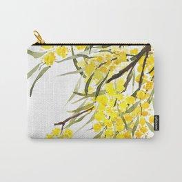 Godlen wattle flower watercolor Carry-All Pouch