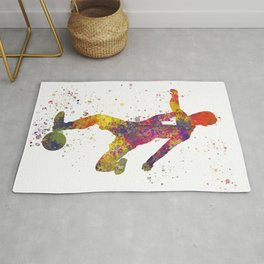 Soccer player isolated 03 in watercolor Rug