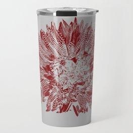 Wild Flower Stamped in Red Travel Mug