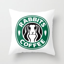 RABBITS COFFEE Throw Pillow