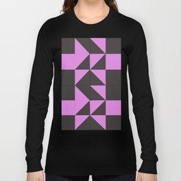Pink Grey Geometric Square Pattern Long Sleeve T-shirt