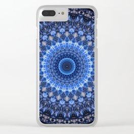 Glowing mandala in blue tones Clear iPhone Case
