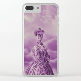 Lady Bonehead VINTAGE PURPLE / Skeleton portrait Clear iPhone Case
