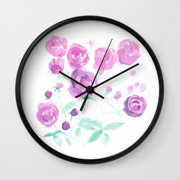 violet watercolor roses Wall Clock