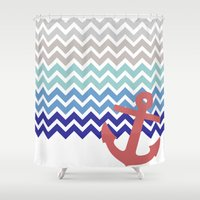 nautical Shower Curtains featuring Nautical  by emain