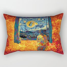 girl on the windows at starry night Rectangular Pillow