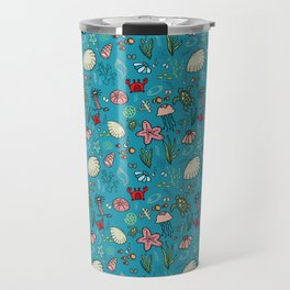 Beach and underwater pattern - fish and turtles and sea shells, oh my! Travel Mug