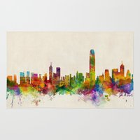 hong kong Area & Throw Rugs featuring Hong Kong Skyline by artPause