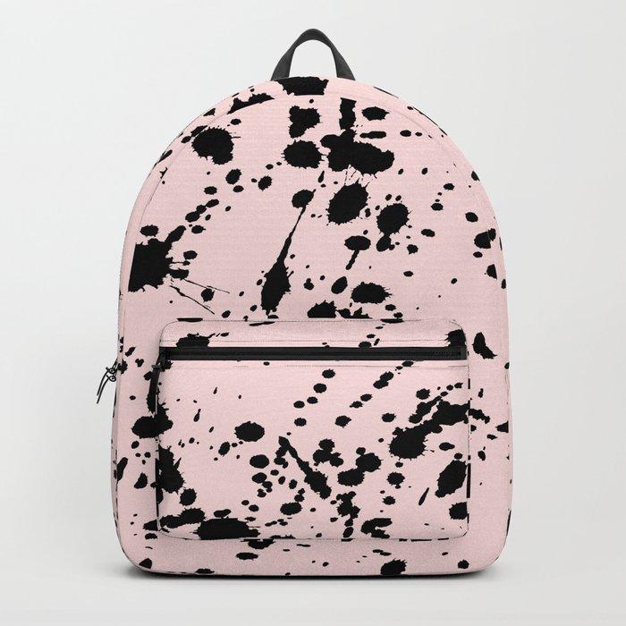 Splat Black on Blush Boarder Backpack