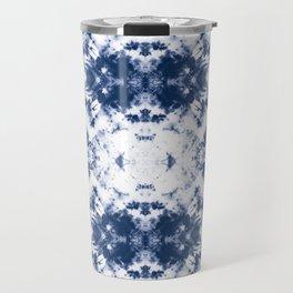 Shibori Tie Dye 3 Indigo Blue Travel Mug