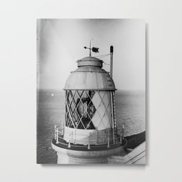 Retro British Lighthouse in Black and White Metal Print