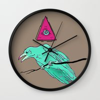 occult Wall Clocks featuring occult raven by Ewa Pacia